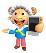 3D Sheep Mascot the left hand guides and the right hand is holdi — Stockfoto