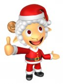 3D Santa Sheep mascot the left hand guides and the right hand be — Foto Stock