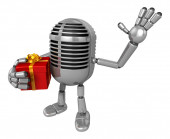 3D Classic Microphone Mascot the right hand guides and the left  — Stock Photo