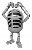 3D Classic Microphone Mascot gesture of love in To the left towa — Stock Photo