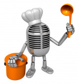 3D Classic Microphone Mascot hand is holding a ladle and saucepa — Stok fotoğraf
