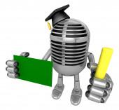 Mano de mascota micrófono clásico 3d sostiene una tiza y Chalkbo — Foto de Stock