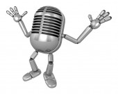 3D Classic Microphone Mascot is startled again and again. 3D Cla — Stock Photo