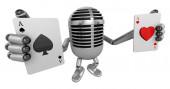 3d classic mascotte Microphone main tient une carte à jouer. 3d — Photo