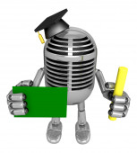 3D Classic Microphone Mascot hand is holding a Chalk and Chalkbo — Foto Stock
