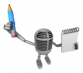 3D Classic Microphone Mascot hand is holding a notebook and Penc — Foto de Stock