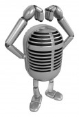 3D Classic Microphone Mascot gesture of love. 3D Classic Microph — Stock Photo