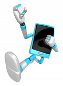 3D Smart Phone Mascot to be powerful whip kicks. 3D Mobile Phone — Stock Photo
