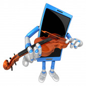 3D Smart Phone Mascot has to be playing the violin. 3D Mobile Ph — 图库照片