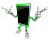3D Smart Phone Mascot is taking gestures of Double pistols. 3D M — Stock Photo