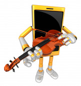3D Smart Phone Mascot has to be playing the violin. 3D Mobile Ph — Stock Photo