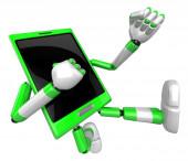 3D Smart Phone Mascot to be powerful whip kicks. 3D Mobile Phone — Stock fotografie