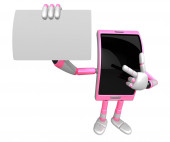3D Smart Phone Mascot the left hand guides and the right hand is — Stock Photo