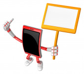 3D Smart Phone Mascot the hand is holding a picket. 3D Mobile Ph — Zdjęcie stockowe