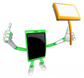 3D Smart Phone Mascot the hand is holding a picket. 3D Mobile Ph — Stock Photo