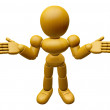 3D Wood Doll Mascot is doing not to know gestures. 3D Wooden Bal — Stock Photo #68905631