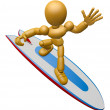 3D Wood Doll Mascot to play a surfboard.. 3D Wooden Ball Jointed — Stock Photo #68905899