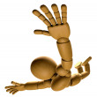 3D Wood Doll Mascot is to play skydiving. 3D Wooden Ball Jointed — Stock Photo #68905957