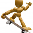 3D Wood Doll Mascot to play skateboard. 3D Wooden Ball Jointed D — Stock Photo #68906281