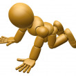 3D Wood Doll Mascot flop on one's knees. 3D Wooden Ball Jointed — Stock Photo #68906317