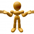 3D Wood Doll Mascot is doing not to know gestures. 3D Wooden Bal — Stock Photo #68907045