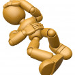 3D Wood Doll Mascot All my joints ache. 3D Wooden Ball Jointed D — Stock Photo #68907181