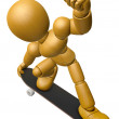 3D Wood Doll Mascot to play skateboard. 3D Wooden Ball Jointed D — Stock Photo #68907829