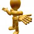 3D Wood Doll Mascot is doing not to know gestures. 3D Wooden Bal — Stock Photo #68908755