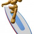 3D Wood Doll Mascot to play a surfboard.. 3D Wooden Ball Jointed — Stock Photo #68909109