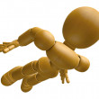 3D Wood Doll Mascot flying to the sky. 3D Wooden Ball Jointed Do — Stock Photo #68909413