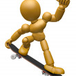 3D Wood Doll Mascot to play skateboard. 3D Wooden Ball Jointed D — Stock Photo #68909813