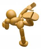 3D Wood Doll Mascot run at full speed. 3D Wooden Ball Jointed Do — Stock Photo
