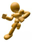 3D Wood Doll Mascot on Running. 3D Wooden Ball Jointed Doll Char — Stock Photo
