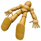 3D Wood Doll Mascot found lying unconscious on the floor. 3D Woo — Stock Photo