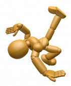 3D Wood Doll Mascot is Fall with a Bump. 3D Wooden Ball Jointed  — Stock Photo
