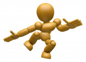 3D Wood Doll Mascot unclasp both hands jumping. 3D Wooden Ball J — Stock Photo