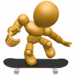 3D Wood Doll Mascot to play skateboard. 3D Wooden Ball Jointed D — Stock Photo #68910759