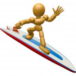 3D Wood Doll Mascot to play a surfboard.. 3D Wooden Ball Jointed — Stock Photo #68910995