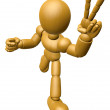 3D Wood Doll Mascot the victory gesture. 3D Wooden Ball Jointed  — Stock Photo #68911233