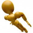 3D Wood Doll Mascot flying to the sky. 3D Wooden Ball Jointed Do — Stock Photo #68911565