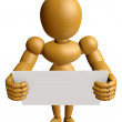 3D Wood Doll Mascot holding a big board with both hands. 3D Wood — Stock Photo #68912205