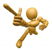 3D Wood Doll Mascot is taking gestures of Double pistols. 3D Woo — Stock Photo