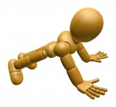 3D Wood Doll Mascot to play push up. 3D Wooden Ball Jointed Doll — Stock Photo