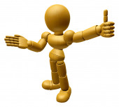 3D Wood Doll Mascot Provide direction and the best gesture. 3D W — Stock Photo