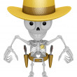 3D Skeleton Mascot is cowboys taking to pose a gunfight. 3D Skul — Stock Photo #70952721