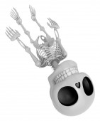 3D Skeleton Mascot life is severing. 3D Skull Character Design S — Stock Photo
