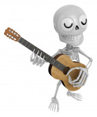 3D Skeleton Mascot has to be playing the guitar. 3D Skull Charac — Stock Photo