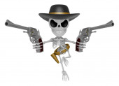 3D Skeleton Mascot is villains holding a revolver gun with both — Stock Photo