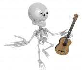 3D Skeleton Mascot is holding acoustic guitar. 3D Skull Characte — Stockfoto