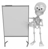 3d scheletro mascotte è presentazione di fronte il ch un briefing — Foto Stock